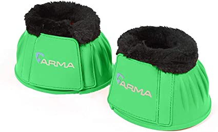 One Pair of Shires Arma Rubber Over Reach Boots Touch Close Green All Sizes