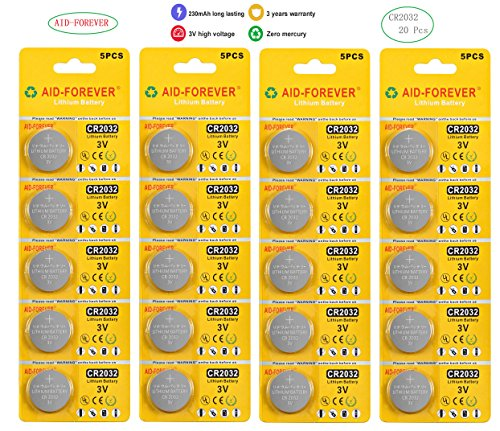 AID-FOREVER CR2032 3 Volt Lithium Coin Battery for watch 20PCS BATTERIES