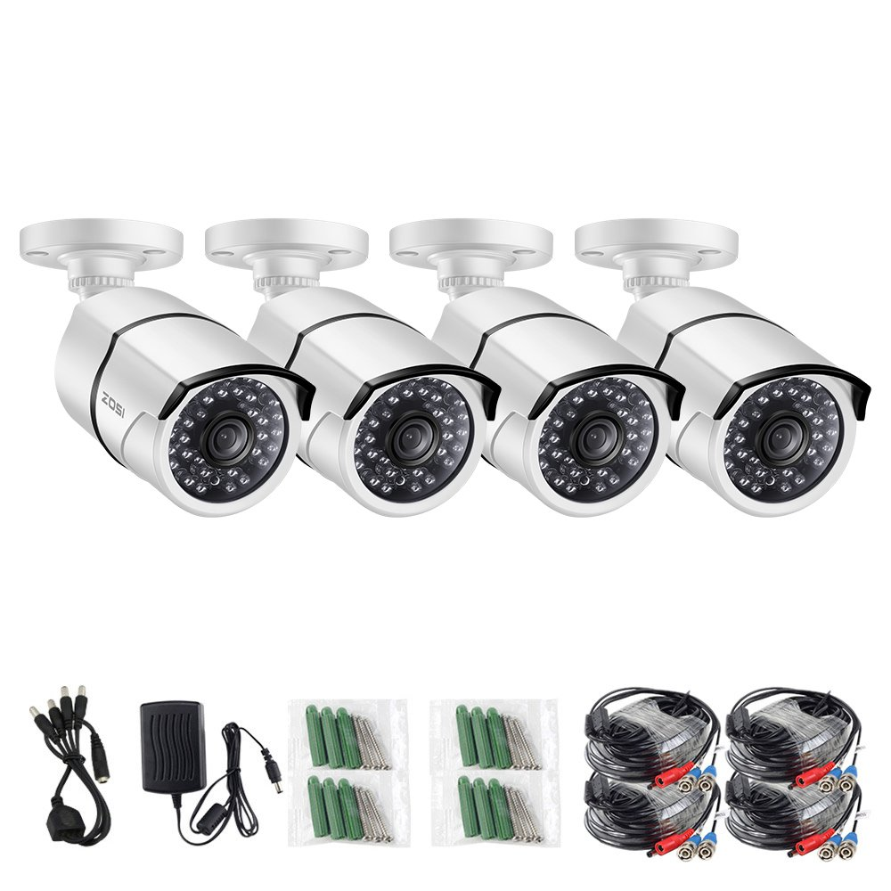ZOSI 4 Pack HD-TVI 1280TVL(720P) Weatherproof Security Bullet Cameras Kit,Night Vision Up to 100FT(30M) by ZOSI