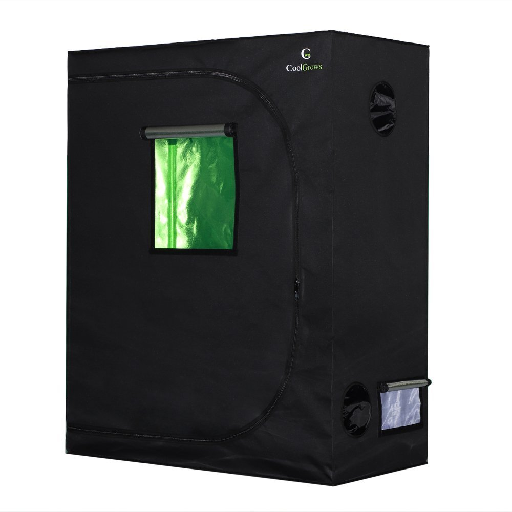 CoolGrows Grow Tent, 48''x24''x60'' Mylar Hydroponic Grow Tent with Observation Window and Floor Tray for Indoor Gardening Plant Growing (48''x24''x60'')