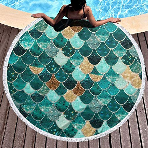 Bethwerdr Round Beach Towel for Women&Girl, Mermaid Fish Scale Print Hippie Happy Youth Towel Extra Large Sand Proof Blanket Yoga Mat with Tassels 59