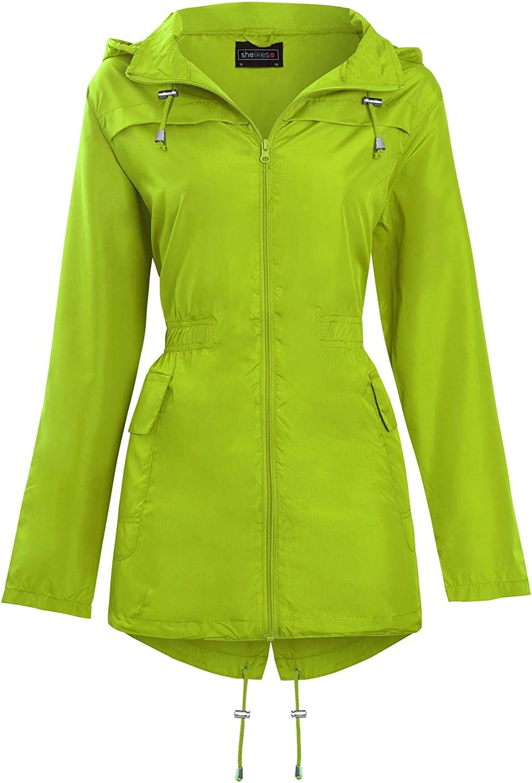 shelikes New Womens Hooded Mac Light Showerproof Rain Jacket