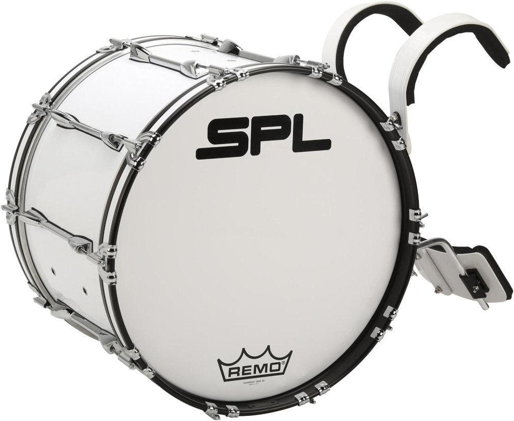 Sound Percussion Labs Birch Marching Bass Drum with Carrier 26 x 14 in. White by Sound Percussion Labs