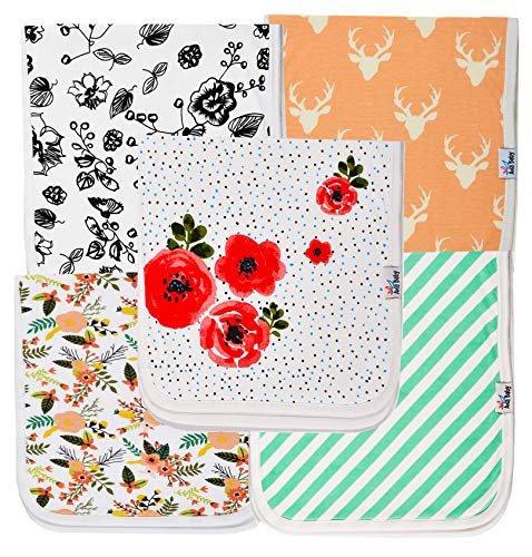 """Ana Baby 100% Organic Baby Burp Cloth Large 21""""x10"""" Size, Premium Absorbent Triple Layer Burping Rags 5 Pack for New Born Baby Girl Gift Set (Burp Cloth Floral)"""