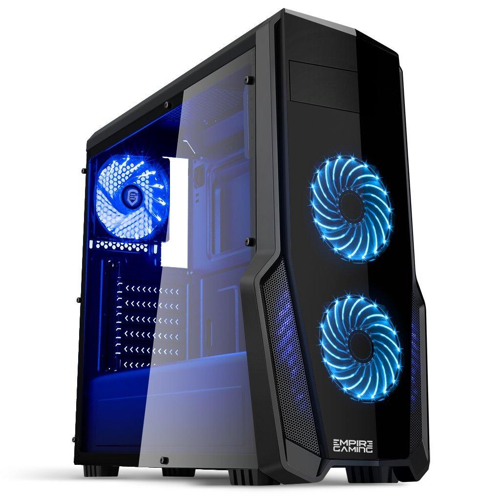 EMPIRE GAMING - Boitier PC WareFare Noir LED Bleu : USB 3.0, 3 Ventilateurs LED 120 mm, paroi latéral Transparente - BLEU
