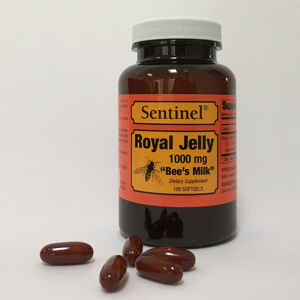 Amazon.com: Sentinel Premium Royal Jelly Superfood 1000 mg, Protein Based, Bees Milk, Natural Skin and Health Nutritive Support, Made in USA, 100 Softgels: ...