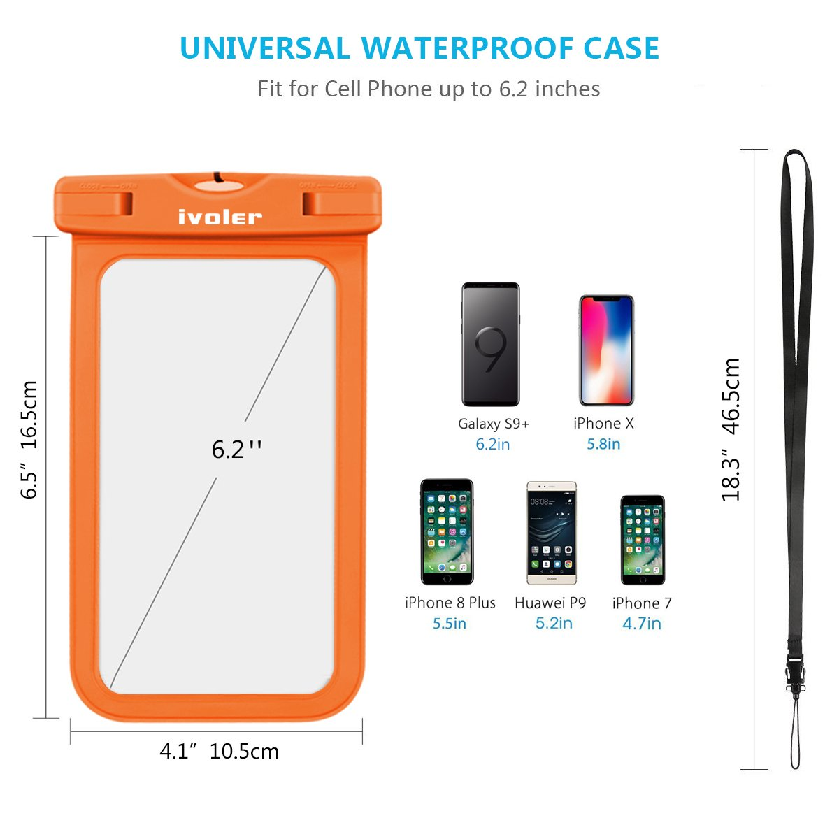 Pasaporte Funda Bolsa M/óvil Impermeable Universal para Xiaomi Samsung Galaxy etc. iVoler Smartphones Huawei IPX8 Certificado iPhone 4 Unidades Monedas Negro//Azul//Verde//Naranja