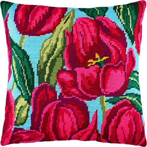 (Tulips — Cross Stitch Cushion kit — Throw Pillow Cover 16″ × 16″ (40 × 40 cm) — Home décor, DIY Embroidery Needlepoint kit on Printed Tapestry Canvas, European Quality — Flowers)