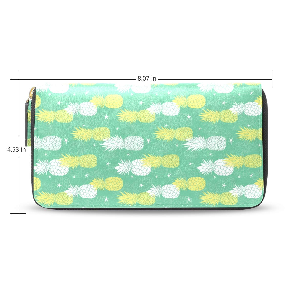 Women LeatherMint Green And Yellow Pineapples StarsWallet Large Capacity Zipper Travel Wristlet Bags Clutch Cellphone Bag