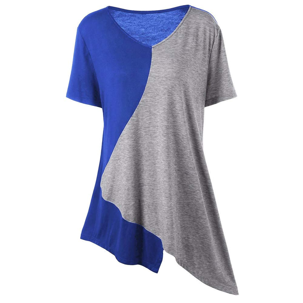 OTINICE Women Summer Casual Short Sleeve Color Block T-Shirt Blouse High Low Tunic Tops Plus Size Blue