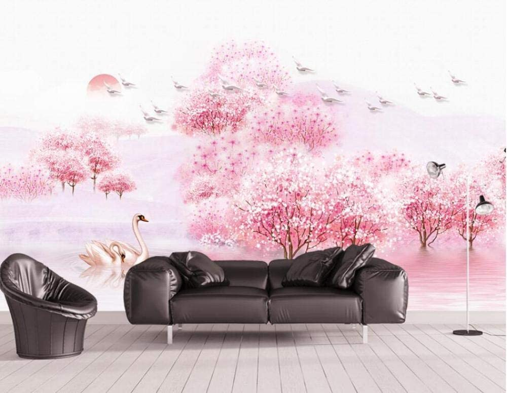 Dzrmb Chinese Beautiful Aesthetic Mood Peach Forest Tv Sofa Wall Custom Large Mural Green Wallpaper 350x245 Cm 137 8 By 96 5 In Amazon Co Uk Kitchen Home