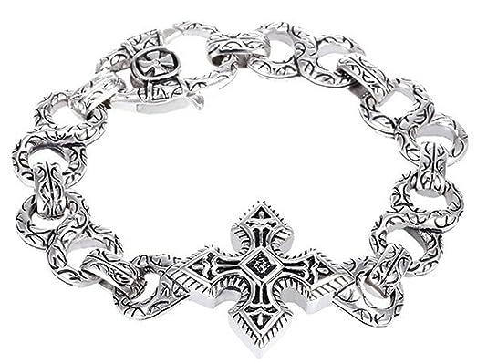 Amazon Com Cc Jj Stainless Steel Bracelet Men Cross Mens