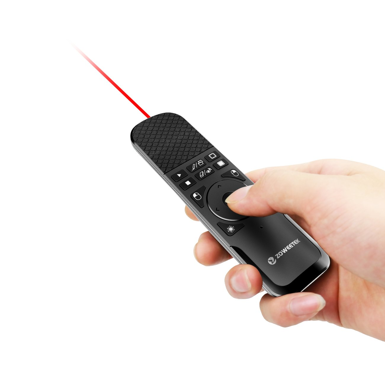 Zoweetek Wireless Presenter with Mouse Functions and Red Laser, 2.4GHz PowerPoint PPT Remote Control Clicker