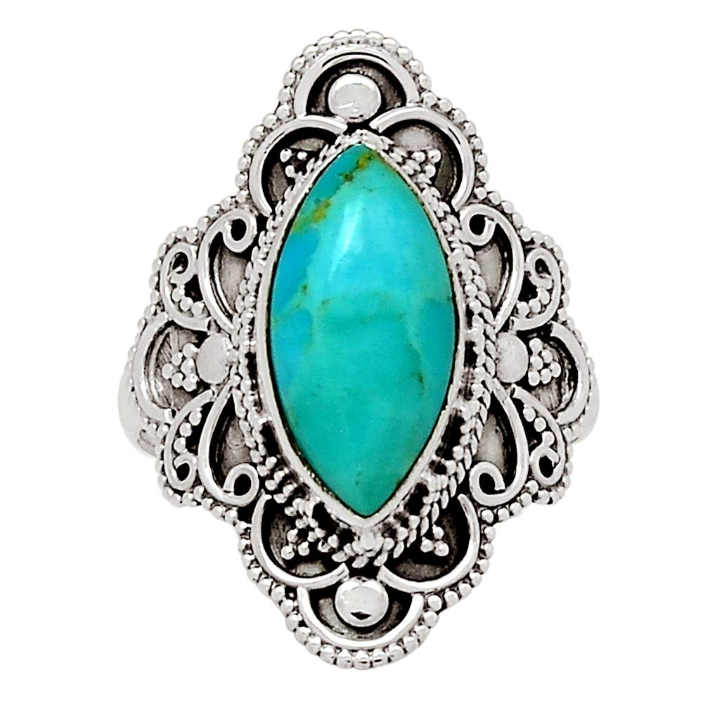 Xtremegems Stablized Blue Turquoise 925 Sterling Silver Ring Jewelry Size 10 27543R