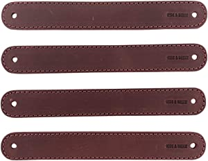 Hide & Drink, Drawer Handles Handmade from Thick Full Grain Leather - Durable, Versatile and Easy to Install with Pre-Made Holes - Stylish Home Improvement Accessory, DIY, 4 Pack :: Sangria