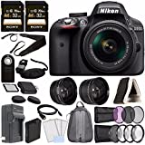 Nikon D3300 DSLR Camera with 18-55mm Lens (Black) + Battery + Charger + Sony 64GB Card + 52mm 3 Piece Filter Set (UV, CPL, FL) + Backpack Bundle