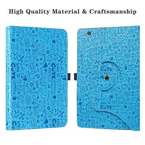 "Barnes & Noble Nook 10 (BNTV650) Rotating Case,LiuShan 360 Degree Rotation Stand PU Leather with Cute Pattern Cover for 10.1"" Barnes & Noble Nook 10 (BNTV650) 10.1-inch Android Tablet,Blue"