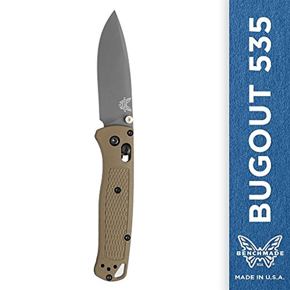 Benchmade Bugout 535GRY-1 Folding Knife for Everyday Carry and Camping, Plain Drop-Point, Green Handle, Coated Finish by Benchmade (Image #1)