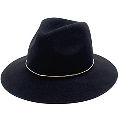 CYPER TOP Fashion Vintage Men Women s Wide Brim 100% Wool Fedora Hat Black 7c054f2c128