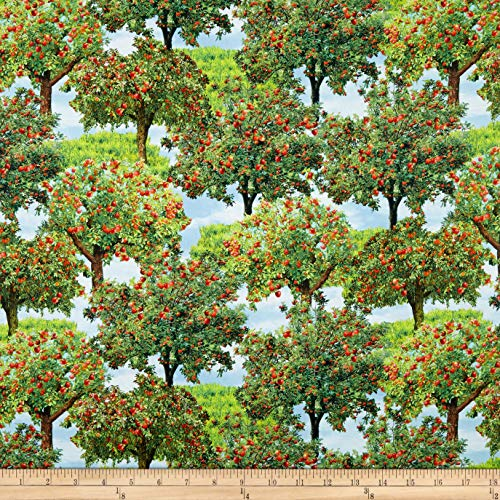 Benartex Kanvas Gala Apple Trees Fabric, 1, Multi, Fabric by the - With Apples Fabric