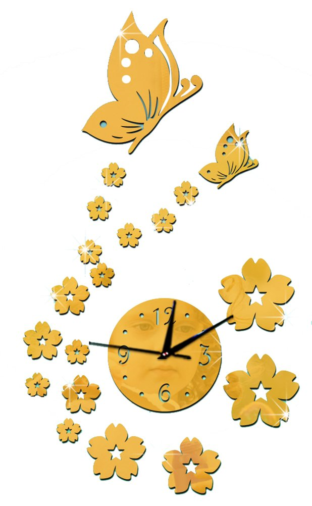 Amazon.com: ChezMax DIY Wall Hanging Clock Decal Murals 3D Butterfly Wallpaper Sticker for Home Decorations: Home & Kitchen