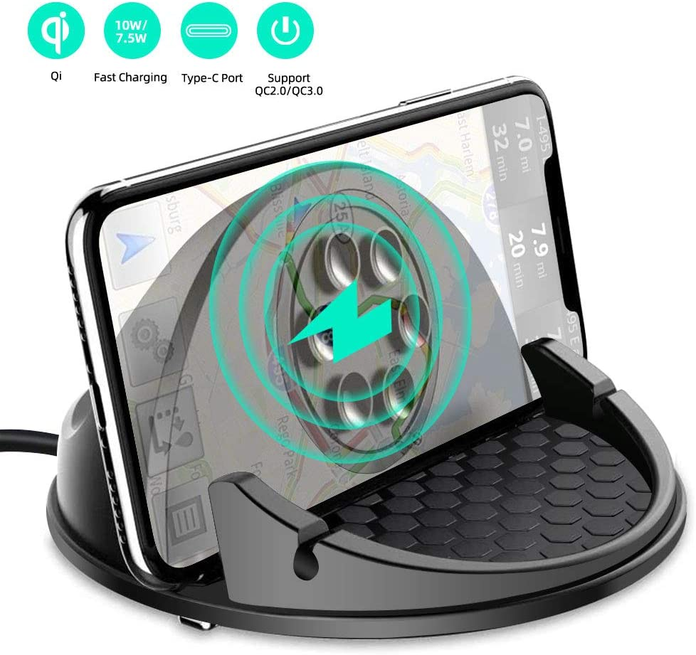 Beasyjoy Wireless Car Charger 10W Qi Fast Charging Car Dashboard Mount,Non-Slip Stable Phone Holder for iPhone11/11 Pro/11 Pro Max/Xs MAX/XS/XR/7/8 Plus/Samsung S10/S10+/S9/S9+/S8/S8+