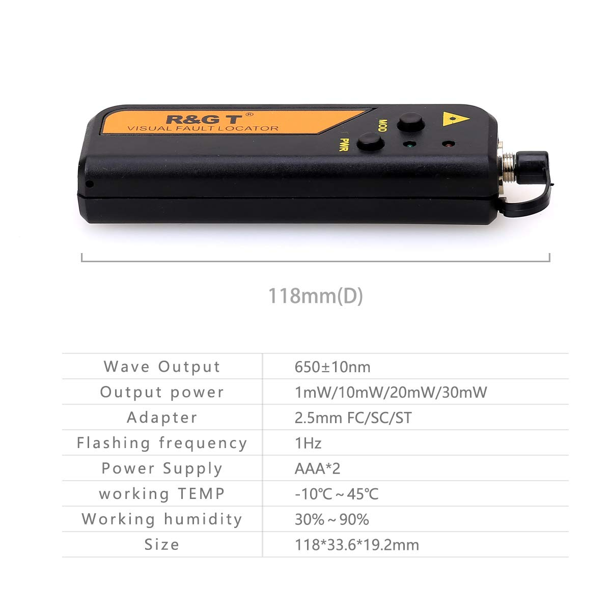 FTTH Mini 10/mW 10/KM localizador Visual de fallos de fibra /óptica Cable Tester Checker Prueba Herramienta con 2,5/mm conector universal con la FC-LC adaptador para CATV Telecommunications
