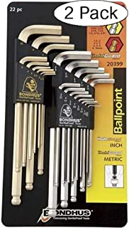 product image for Bondhus 20399 Ball End L-Wrench DoublePK w/BriteGuard & GoldGuard Finish (Pack of 2)