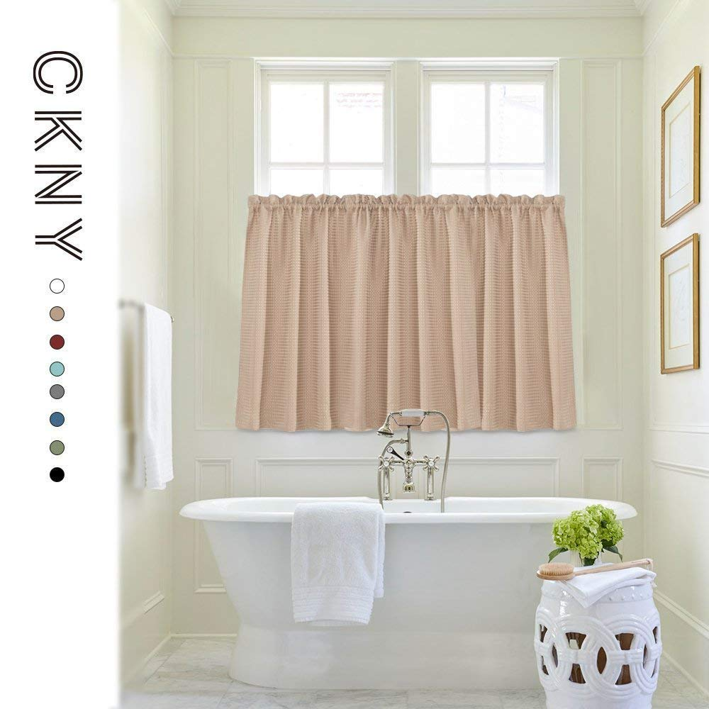 Waffle Woven Cafe Curtains Waterproof Kitchen Window Curtain Sets For  Bathroom (72 By 45 Inch, Taupe, One Pair)   WFERPC 3645P2C06 U003c Valances U003c  Home ...