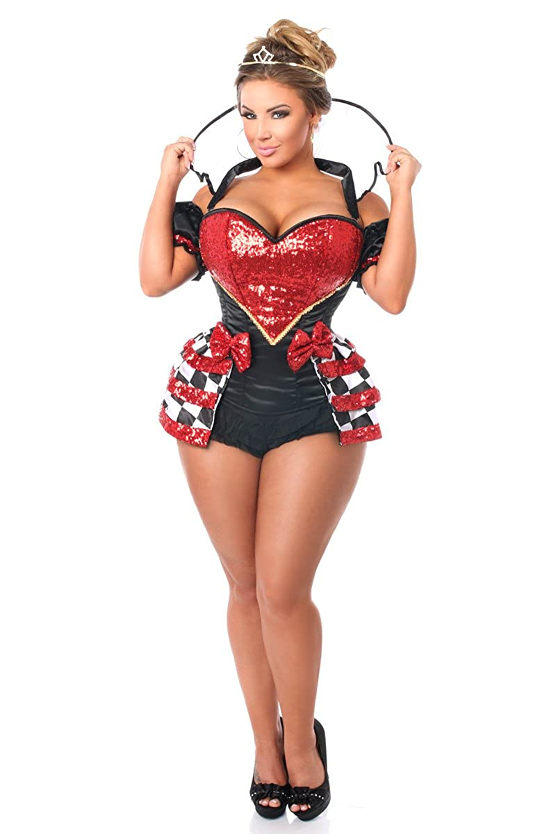 Women's Sexy Royal Red Queen 6-Piece Short Checkered Skirt Corset Costume (Size S - XL) - DeluxeAdultCostumes.com