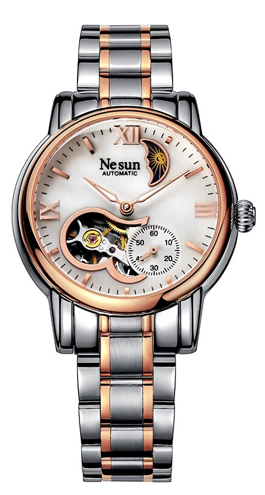 Women's Steel Watches Heart-Shape Skeleton Fashion Mother of Pearl Dial Mechanical Watch (Rose Gold)