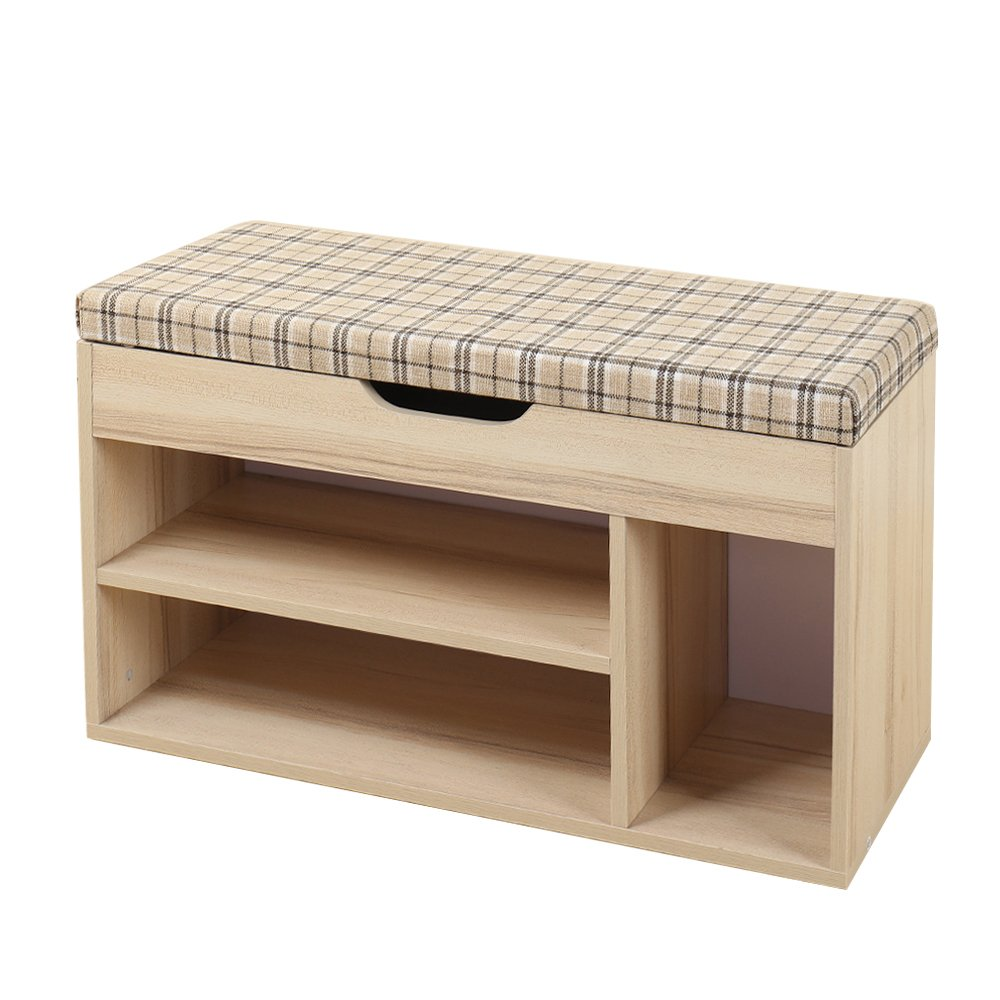 Soges 31.5'' Storage Bench Storage Hall Shoe Bench Rack with Storage, Check M018-CK