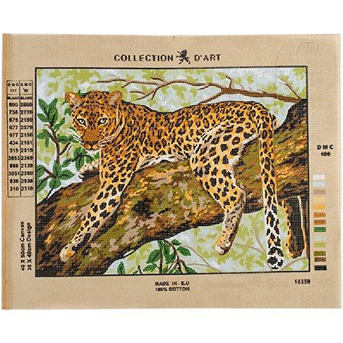 RTO Cheetah D'Art Needlepoint Printed Tapestry Canvas, 40 x 50cm