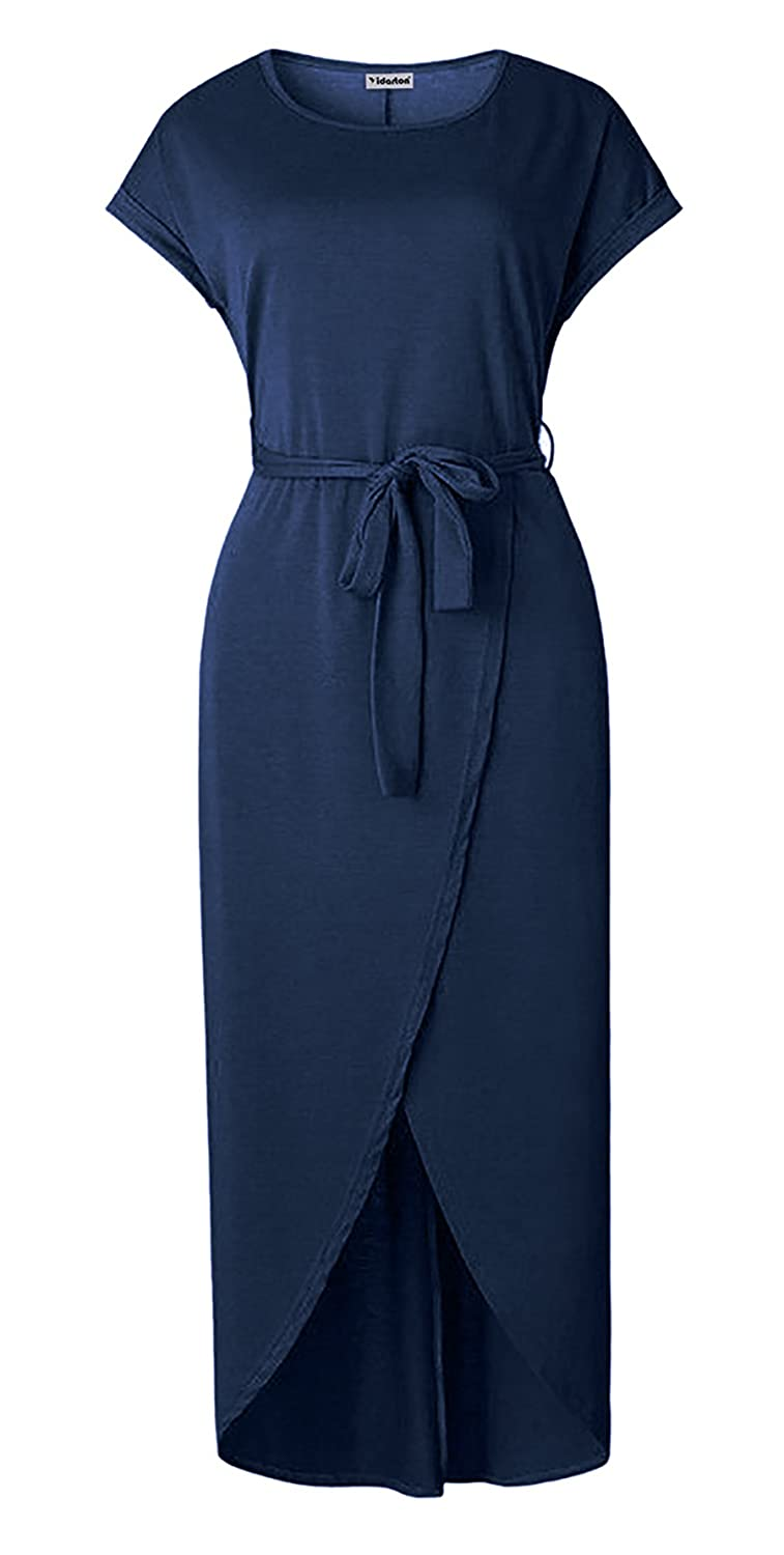 Yidarton Womens Casual Cap Sleeve Front Slit Solid Party Long Maxi Dress