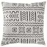 "Rivet Mudcloth-Inspired Pillow, 17"" x 17"",  Pale Gray"