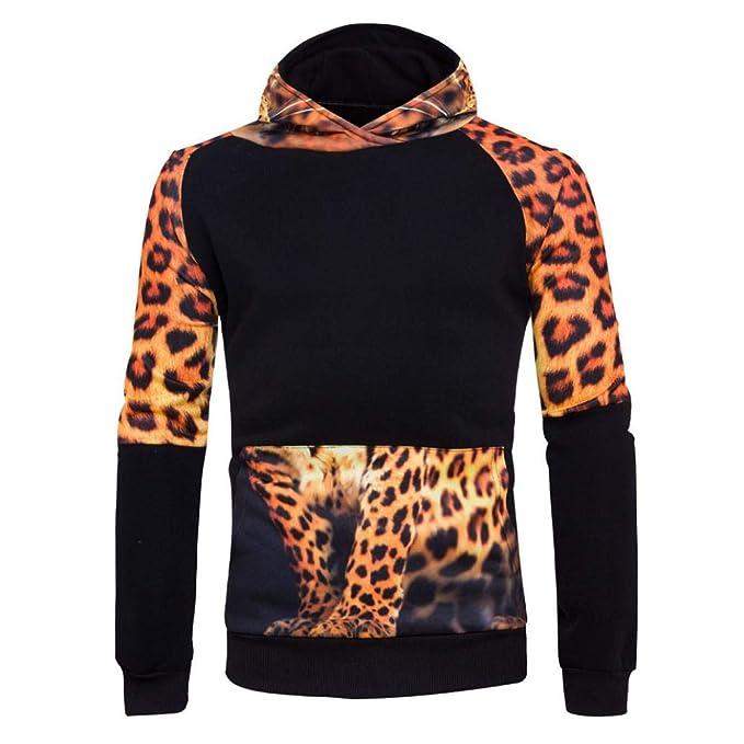 Covermason Sudaderas con Capucha para Hombre, Estampado de Leopardo Sudaderas: Amazon.es: Ropa y accesorios