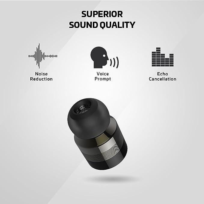 Rowkin Bit Auriculares Bluetooth estéreo, auriculares inalámbricos con micrófono. Auriculares intrauditivos manos libres inalámbricos más pequeños con ...