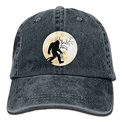 Funny Bigfoot Sasquatch Full Moon Vintage Washed Dyed Cotton Twill Low Profile Adjustable Baseball Cap (Bigfoot Products)