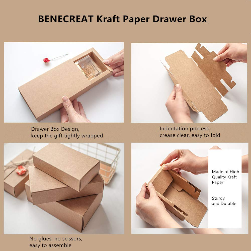 Benecreat 20 Pack Kraft Paper Drawer Box Festival Gift Wrapping
