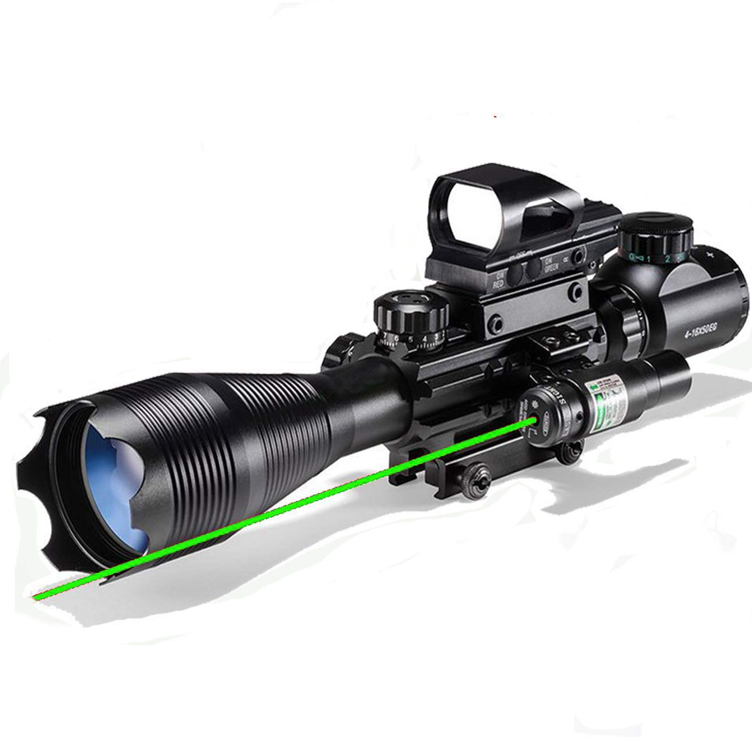 Hunting Rifle Scope Combo C4-16x50EG Dual Illuminated with Green Laser sight and 4 Holographic Reticle Red/Green Dot for 22mm Weaver/Rail Mount (Green Laser) by XopingABC