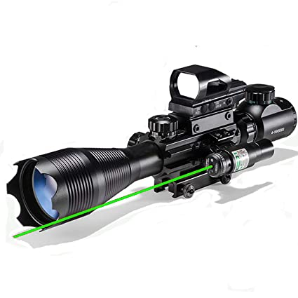 XOPin Hunting Rifle Scope Combo C4-16/12x50EG Dual Illuminated with Green Laser Sight 4 Holographic Reticle Red/Green Dot for Weaver/Rail Mount