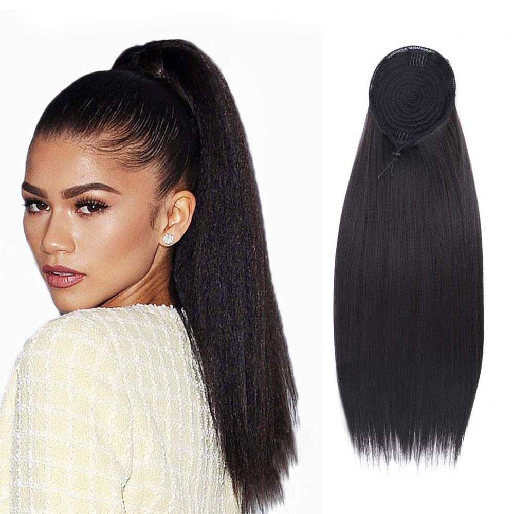 Vigorous Drawstring Yaki Kinky Straight Ponytail Extension Long Straight Hair Bun Synthetic Natural Color Heat-resistant Hairpiece with Clip In Drawstring (22 inch 0.28 lb) by Vigorous