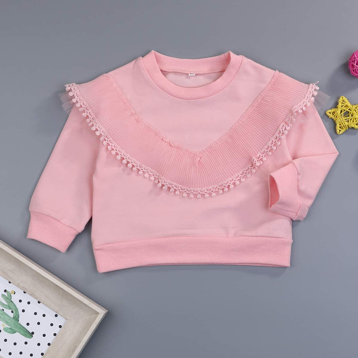 Baby Girls Pullover Solid Color Casual Toddler Little Girls White Pink Large V Lace Yarn Sweater Winter Clothes