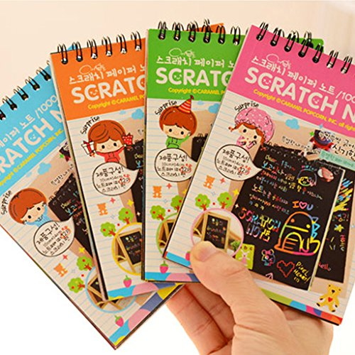 (Fucung 1pcs Magic Drawing Book DIY Scratchbook Scratch Stickers Notebook Black Cardboard Stationery Drawing Toy As Gift For Kid)