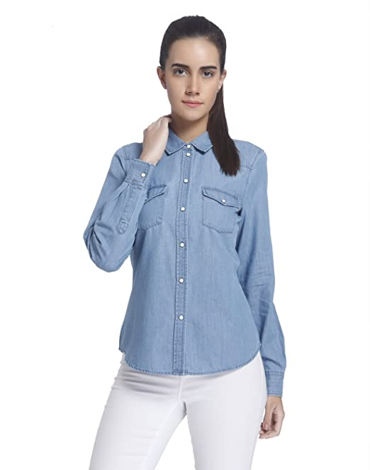 Vero Moda VMDAISY Denim Shirt LT Blue NS, Blusa Mujer, Azul (Light Blue