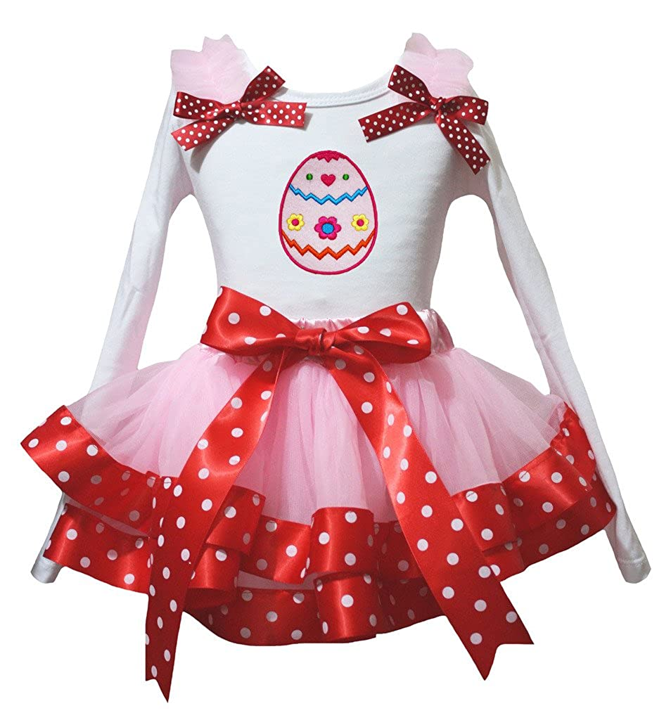 Petitebella Floral Egg White L//s Shirt Dot Red Ribbon Pink Petal Skirt Set Nb-8y