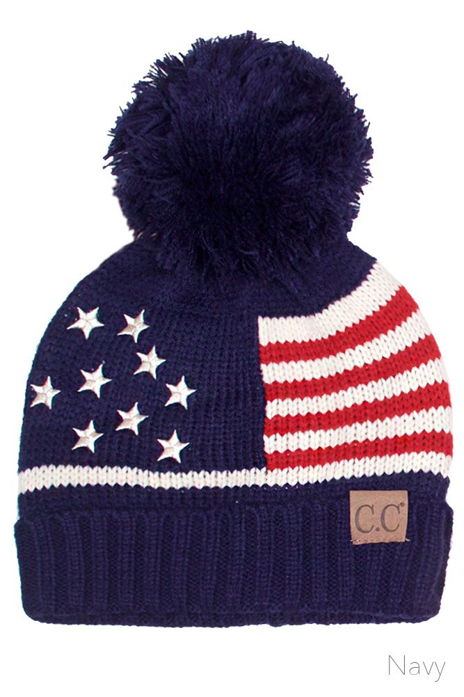 ScarvesMe CC Unisex American Flag USA Patriotic Knit Hat (Navy)