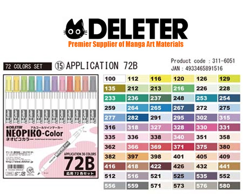 Deleter Neopiko-Color 72 Set B Marker Pens for Manga Comic Illustrators Alcohol Based Dual Tip by Deleter