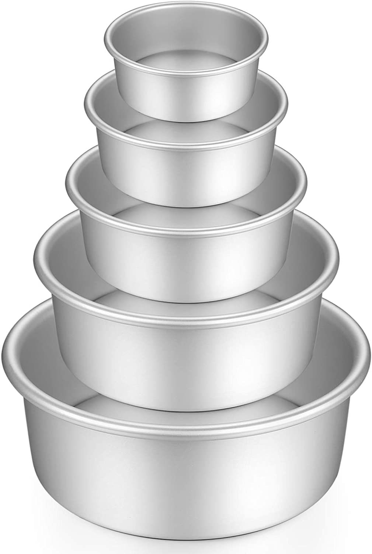 Gesentur Moldes Para Pasteles, Redondo Aluminio Anodizado Molde de Horno Antiadherente Set, Base Desmontable, Conveniente Para Boda Cumpleaños Pastel, 5 Piezas (5