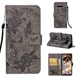Strap Wallet Case for Samsung Galaxy S10,Aoucase Cute Butterfly Flower Painted Magnetic PU Leather Card Slot Kickstand Soft Slicone Flip Case with Black Dual-use Stylus,Gray